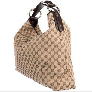 Gucci Horsebit GG Logo X-Large Canvas Hobo Bag